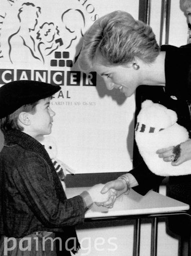 Diana, Princess of Wales meets Simon Bright, ages nine, who presented her with a William the bear soft toy at the Royal Marsden Hospital. The Princess launched a national cancer appeal which aims to raise 25 million over the next two years to re-build the hospital's two sites. AP Rota