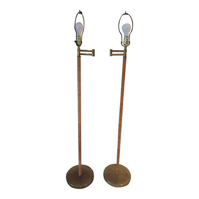 Vintage Rattan Brass Articulating Floor Lamps A Pair Rattan