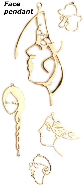 Face Pendant Earrings Abstract Modernist Earring Base Jewelry Earringmaking Diy Handmade Jewelrymaking