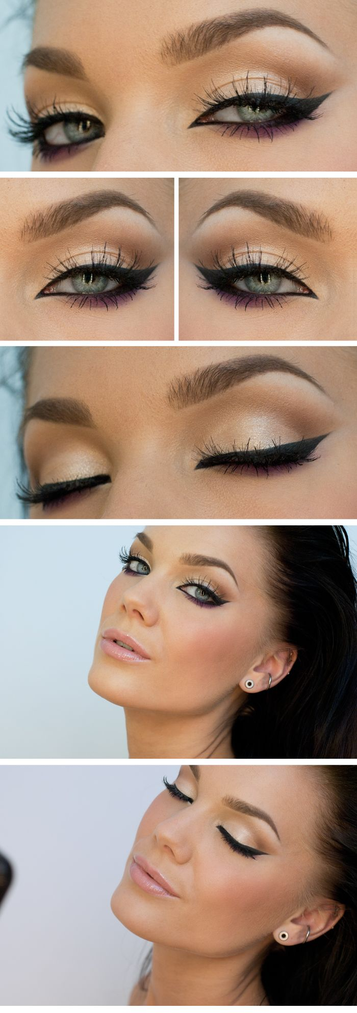 Neutral eye with liquid liner and pop of color I would switch to brown or navy for the purple