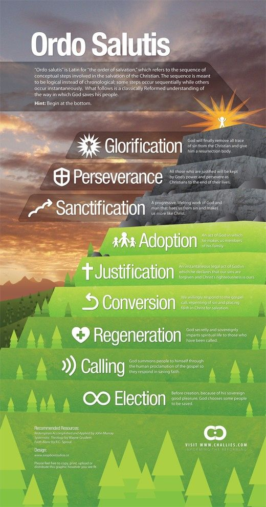 "Tim Challies ""Visual Theology"" Series. A set of 12 Reformed Theology Visuals (This one is: The Order of Salvation)"