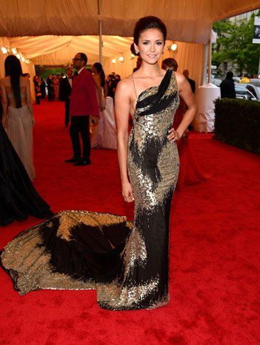 Nina Dobrev at the Met Gala 2012  in Donna Karan Atelier custom gown.