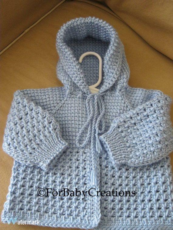 Luz azul del ganchillo del bebé suéter con por ForBabyCreations