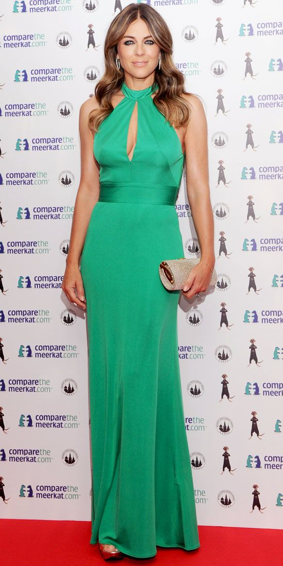 Elizabeth Hurley in a slinky green gown w. keyhole detailing : Look of the Day - August 22, 2013 : InStyle