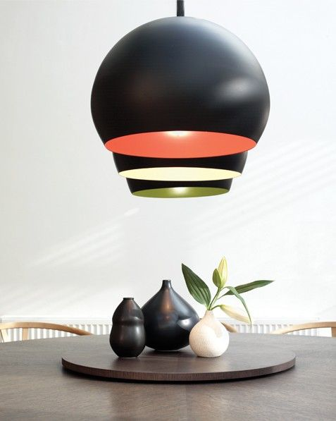Inside 1 Light Pendant in Black/Orange $100