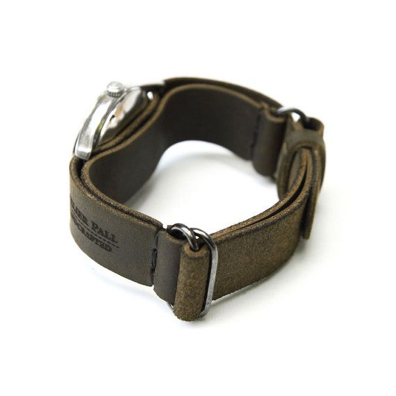 AtelierPall Watch Strap in khaki leather watch by LeatherPall