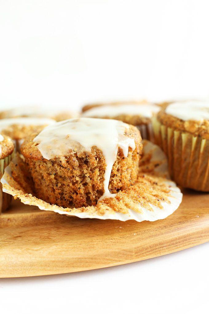 Vegan Meyer Lemon Muffins with Poppy seeds and a simple lemon glaze | 1 Bowl and #Vegan!