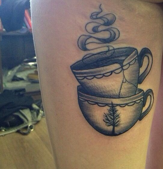 traditional black and grey stacked teacup tattoo, medium sized & whip shaded by kiahohtattoo @ Candour Custom Leicester