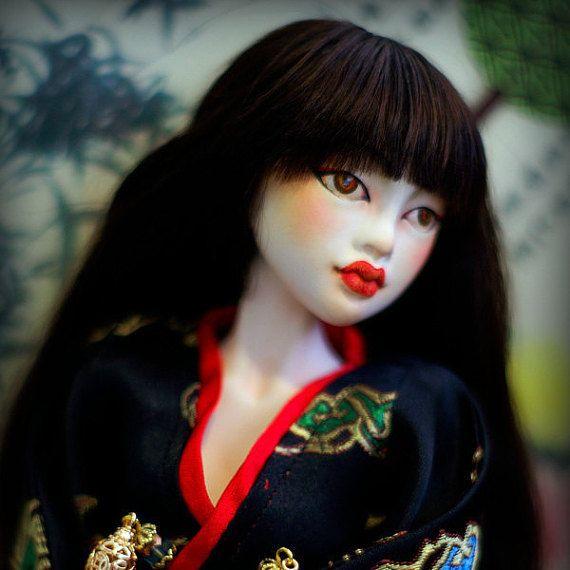 BJD doll Geisha in kimono. by ElenaMakhovaDolls on Etsy