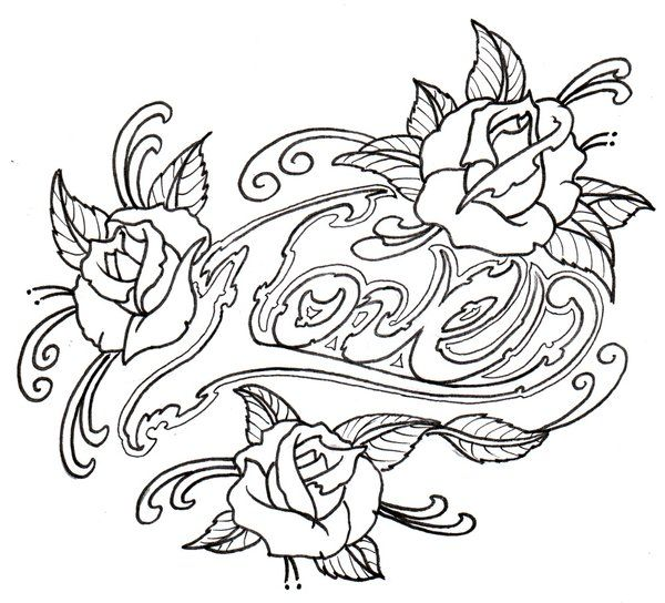 Loveroses Outline By Vikingtattoo DeviantART Tattoo Designs