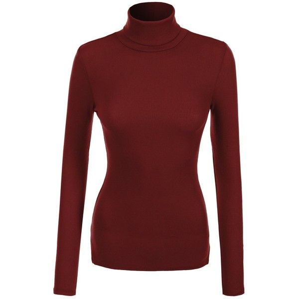 RubyK Womens Basic Ribbed Long Sleeve Turtleneck Top ($13) ❤ liked on Polyvore featuring tops, sweaters, turtle neck top, turtleneck top, ribbed turtleneck sweater, ribbed turtleneck and red top