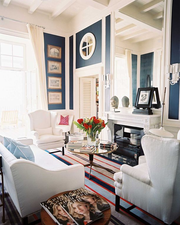 contrasting wall trim and molding - Navy Blue Living Room