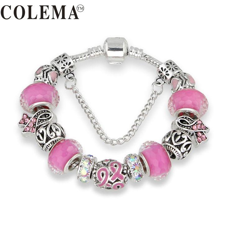 Keorma Belle Fille Couleur Argent Femmes Bracelet En Verre de Murano Perle Cristal Nouvelle Sensibilisation au Cancer Du Sein Ruban Rose Charme Bracelet
