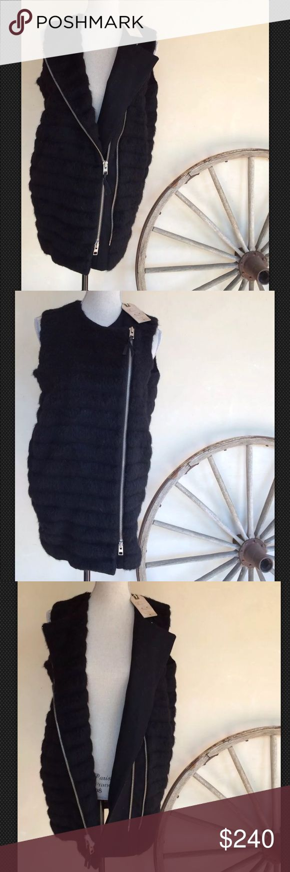 ALL SAINTS Alpaca Wool Moto Jacket Vest NWT $490!! ALL SAINTS Elize Sleevrless Black Wool & Alpaca Jacket Vest Motorcycle UK 8 US 4 EU NWT.  Originally $490.