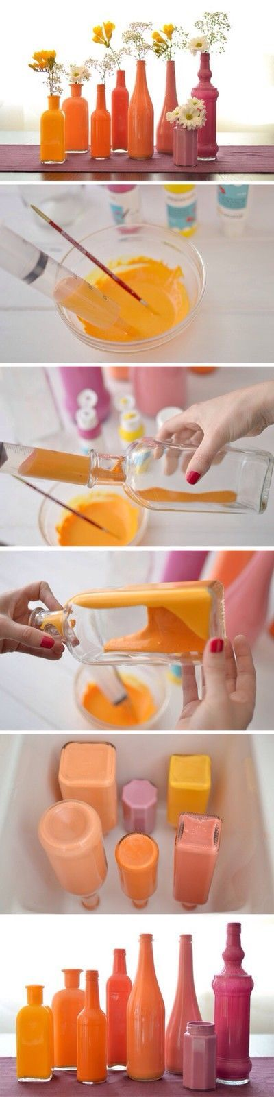 Crea coloratissimi vasi per fiori da vecchie bottiglie o barattoli di vetro