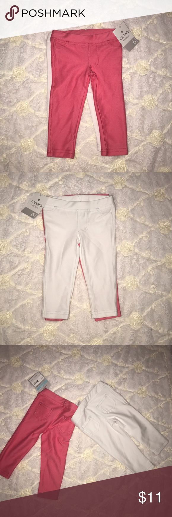 Hot Pink & White Jeggins Set **NEW WITH TAGS** Carter's Hot Pink & White Jeggins set w/ real pockets on the back. Carter's Bottoms Leggings