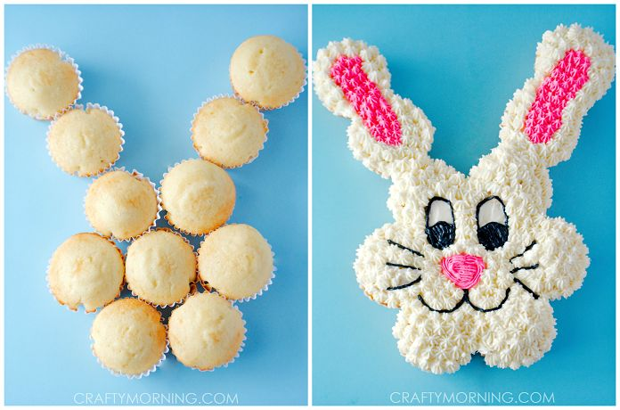 For Easter this year, make this adorable Easter bunny pull-apart cupcake cake with your kids! It's the perfect dessert to set out for your party. All you need are 12 cupcakes to make this little guy! Supplies: 12 Cupcakes (I used a box mix) The Best Buttercream Frosting Gel food coloring in pink, black, and …