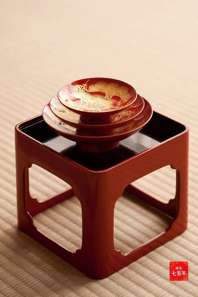 "Japanese lacquer tray (Sakazuki) for o-toso - ""o-toso"" is spiced medicinal sake traditionally drunk during New Year celebration to flush away the previous year's maladies and to aspire to lead a long life in Japan."