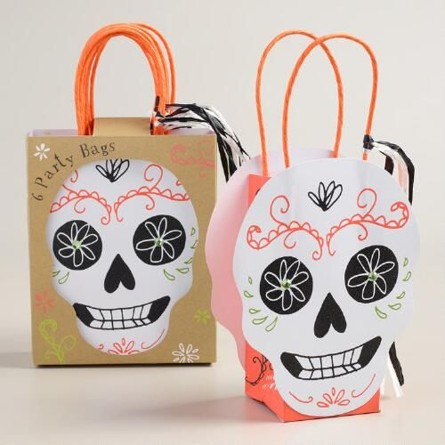 One of my favorite discoveries at WorldMarket.com: Day of the Dead Skull Halloween Gift Bags, Set of 6