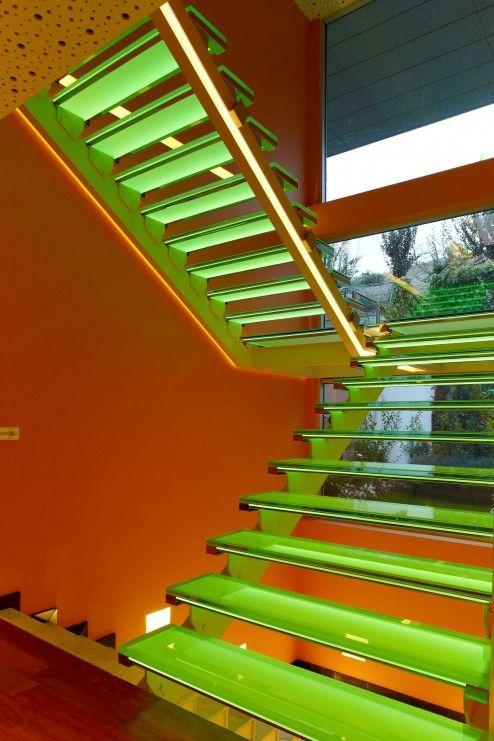Interior Design, Wonderful Soft Green Light Stair Lighting On Orange Wall Color Interior Design As A Vibrand Interior Staircase Design Ideas ~ Attractive Stair Designs Interior with Unique Architecture Design