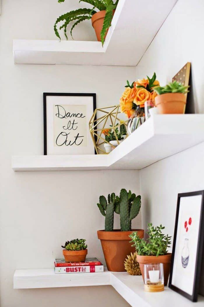 20 Comfy Corner Floating Shelves Design Ideas To Beautify Your Room Corner Floating Shelves Diy Diy Corner Shelf Corner Shelf Design