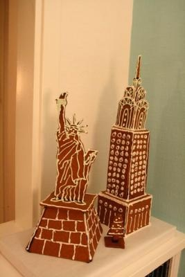 Gingerbread Chrysler Building and Statue of Liberty