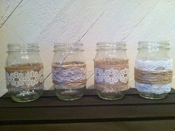 Small burlap and lace mason jars centerpieces similar to