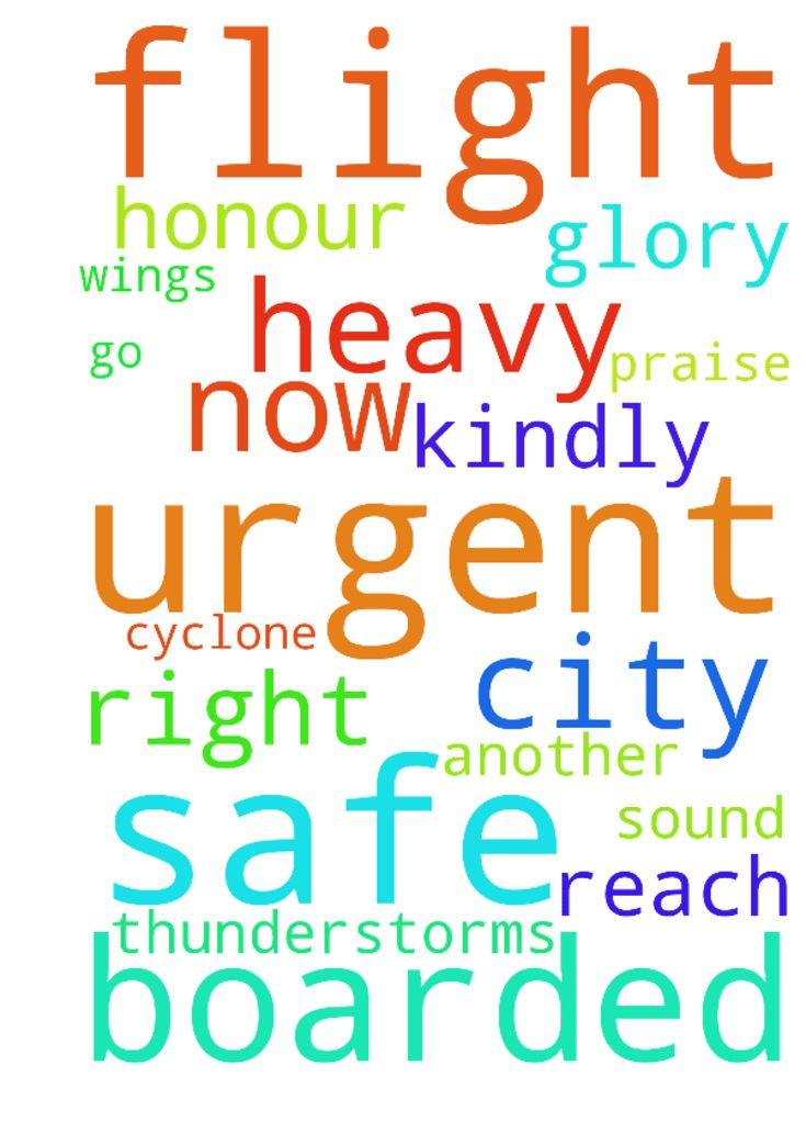 An urgent prayer request as we have boarded a flight - An urgent prayer request as we have boarded a flight to go to another city. There is a cyclone and there is heavy thunderstorms right now. Kindly pray that we are safe under His wings and that we reach safe and sound. To God be all the glory, honour and praise.. Amen  Posted at: https://prayerrequest.com/t/H9B #pray #prayer #request #prayerrequest