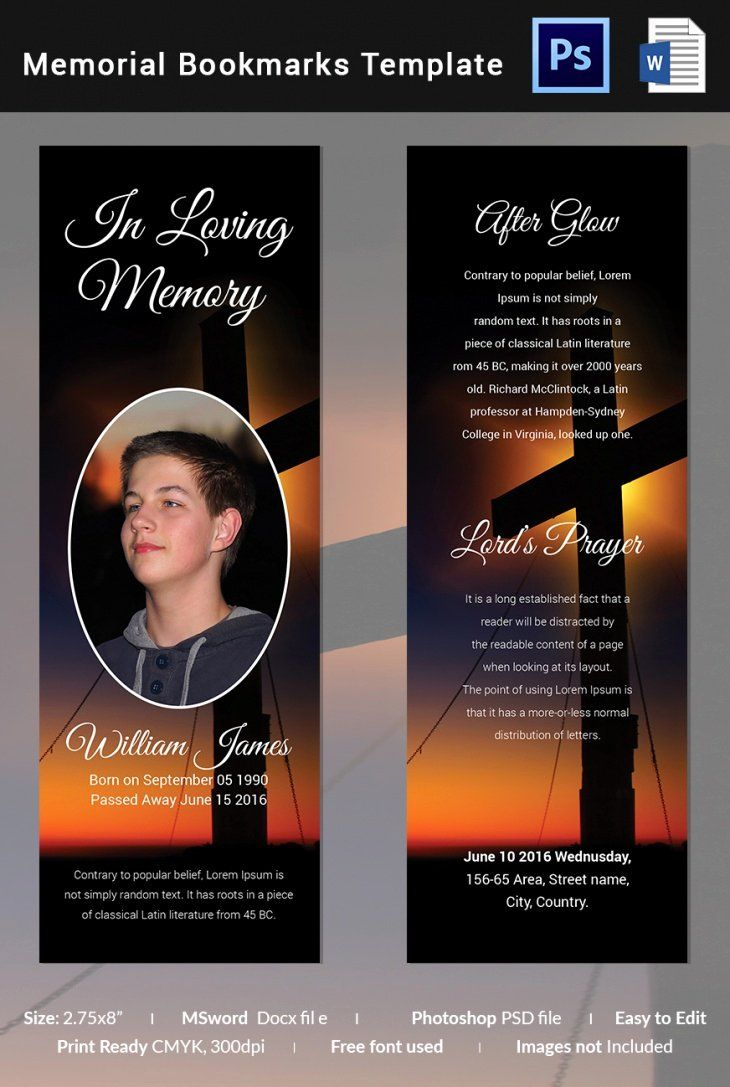 Memorial Card Templates Free Download Lovely 5 Memorial Bookmark Templates Free Word Pdf Psd Memorial Cards For Funeral Memorial Cards Card Templates Free