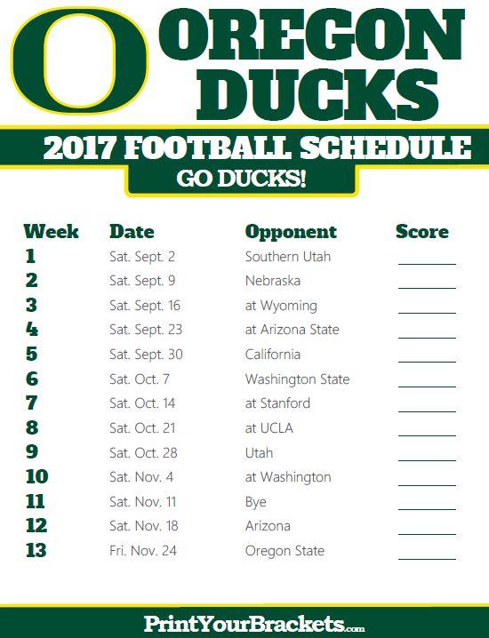 2018 Printable Oregon Ducks Football Schedule