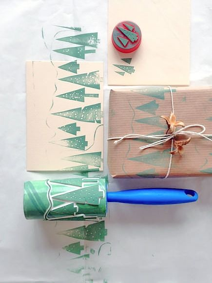 Print your own custom holiday cards and wrapping paper with these tree stamps made from a lint roller and bottle cap!