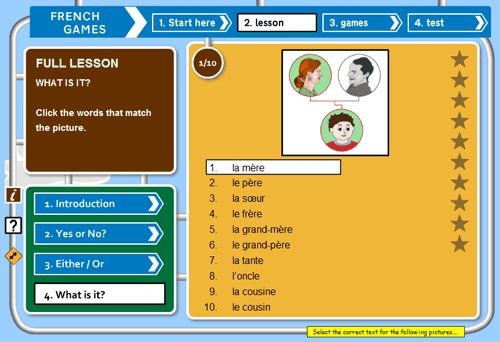 French Games is a free website for kids and young adults learning French. It has a full set of free lessons, games and tests for learners to use with over 100 topics - both beginner and intermediate.