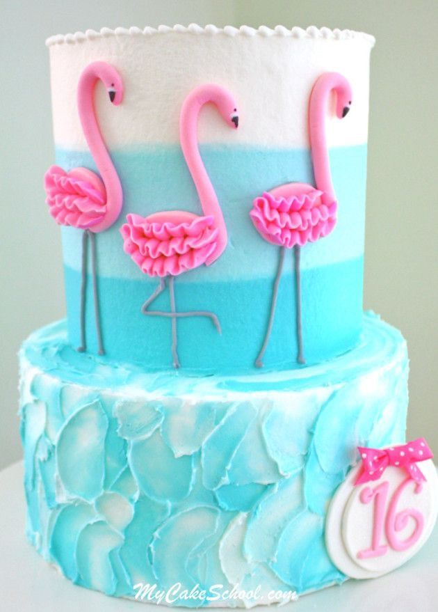 Adorable Flamingo tiered cake, done almost entirely in buttercream
