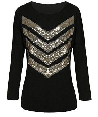 Fanala Fashion Women Casual Long Sleeve Sequin T-Shirt Top Shirt Black