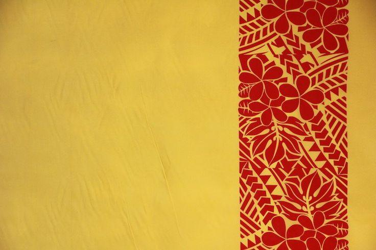 Plumeria Tattoo Border Gold Fabric