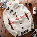 Fashion Mens Thin lapel Spring Winter knitwear Coat Loose Sweater Fashion Black
