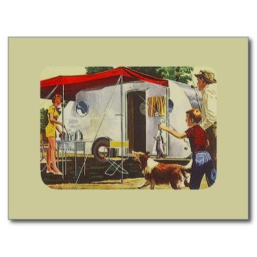 Postcard Vintage Retro Travel Trailer Camping Trip