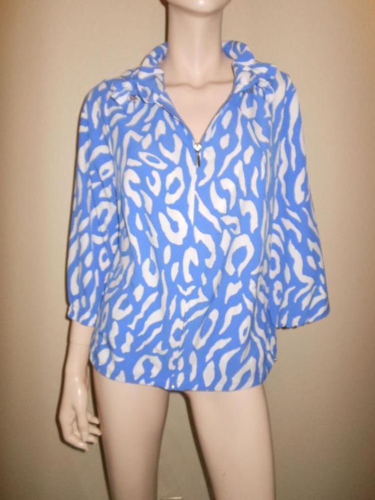 Zenergy by Chico's Size 1 Animal Print in blue and white Zip Up Jacket #Chicos #BasicJacket