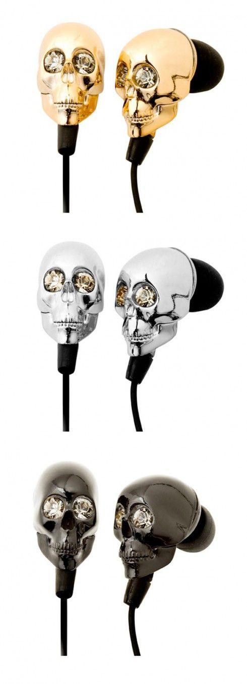 Swarovski crystal skull earbuds.
