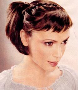 Bangs braids and ponytail. Summer hair