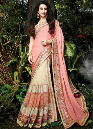 Karishma Kapoor Peach Beige Embroidery Work Net Georgette Half Bollywood Sarees http://www.angelnx.com/Sarees/Party-Wear-Sarees