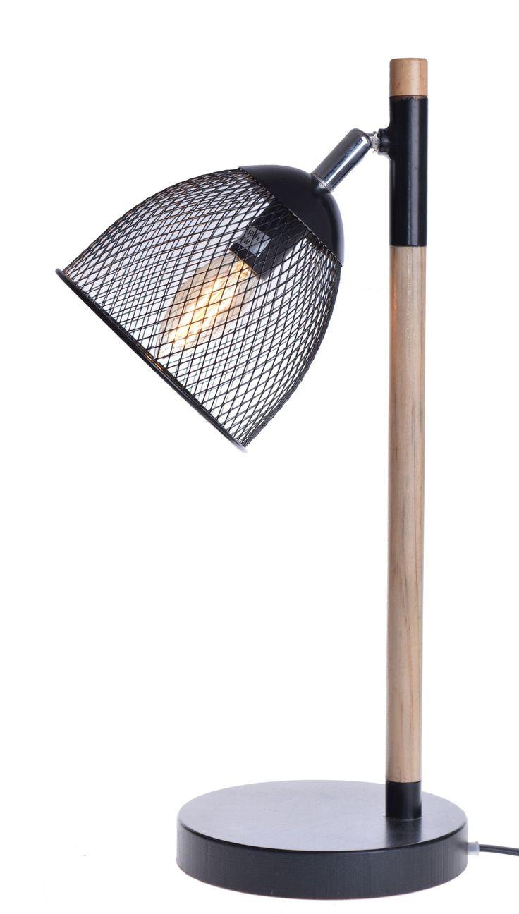 Lampa biurkowa - stołowa :drewno + metal w kolorze czarnym.  Podstawa metalowo-drewniana. Klosz metalowy - czarna siatka. Żarówka E14. Pasuje jako lampka stołowa lub biurkowa.