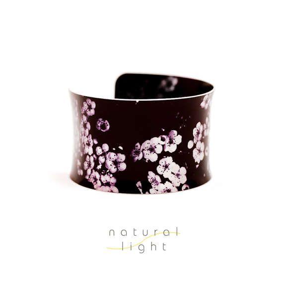 Aluminium Cuff Bracelet - Botanical Jewellery - Floral Garden In Black And Purple - Nature Jewellery - Flower Jewelry - Boho - Bohemian