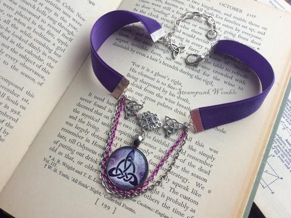 Purple Velvet Choker Witchy Things Triquetra Jewelry Pagan