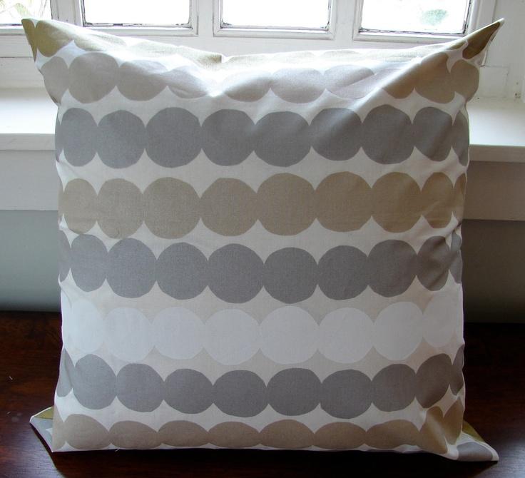 """White, Silver, Gold Rasymatto pillow case 18x18"""" (45cm), Finland. $35.00, via Etsy."""