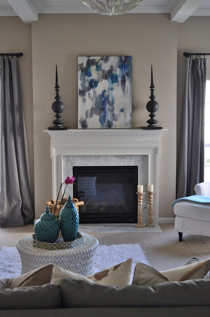 Beautiful Gray Living Room, Turquoise, Neutral Family Room, White Flokati Rug,  Abstract Painting