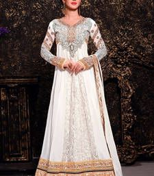 Buy Off White embroidered georgette semi stitched salwar with dupatta wedding-salwar-kameez online