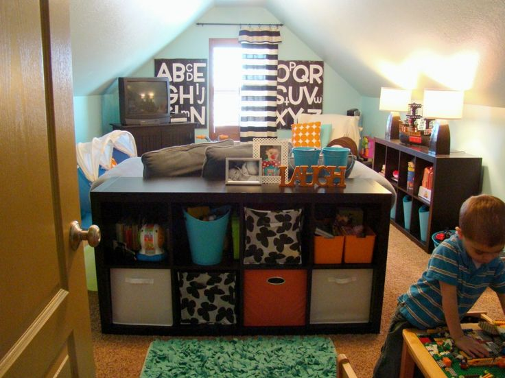 Small Attic Playroom Place For Kids With Black Polished