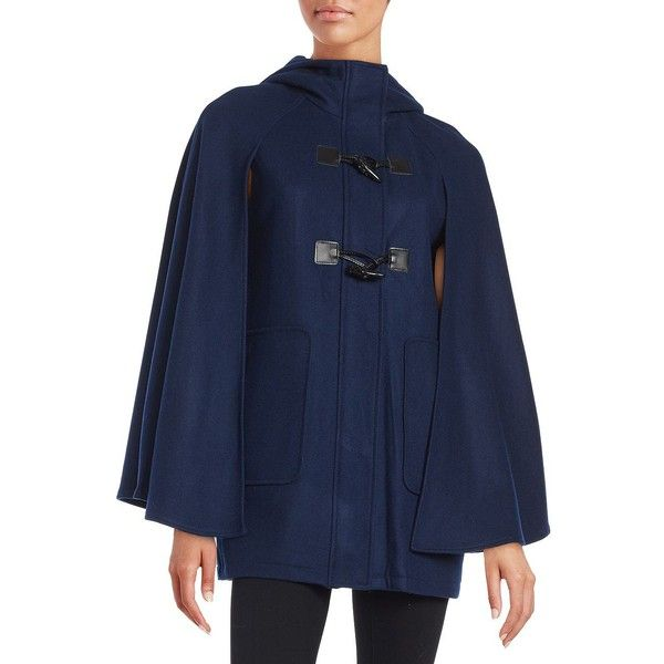 Bcbgeneration Hooded Toggle-Button Caped Coat ($228) ❤ liked on Polyvore featuring outerwear, coats, navy, blue hooded cape, stand collar coat, navy blue toggle coat, navy blue cape coat and blue toggle coat