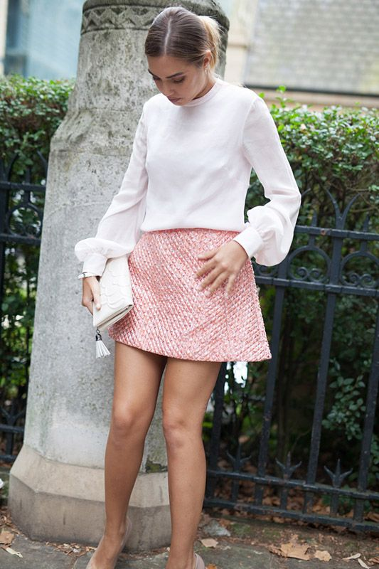 SS16 streetstyle details  short skirt babay pink shirt